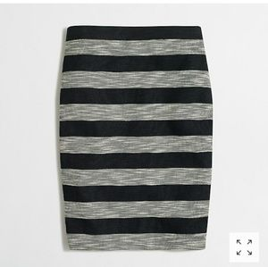 J.crew stripe pencil skirt